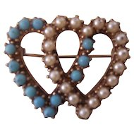 Vintage Faux Turquoise & Pearl Sweetheart Brooch