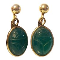 Gold Filled Green Scarab Earrings Van Dell
