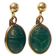 Gold Filled Green Scarab Earrings Van Dell