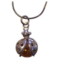 Sterling Silver Honey Amber Ladybug Pendant Necklace