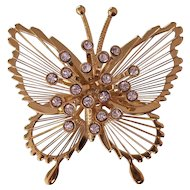 Vintage Monet Gold tone Rhinestone Butterfly Brooch