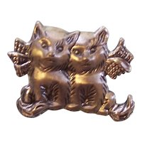 Adorable Sterling Silver Two Kittens with Bow Pin by Beau