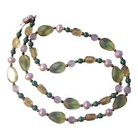 Chinese Glass and Bead Faux Pearl Necklace Gold tone