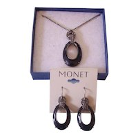 Monet Black & Gunmetal w/ Rhinestones Necklace & Earrings Set