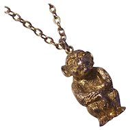 Vintage Figural Monkey Pendant Necklace