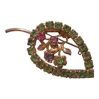 Vintage Peridot & Pastel Rhinestone Leaf Brooch