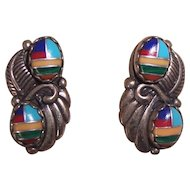 Native American Sterling Stone Inlay Earrings