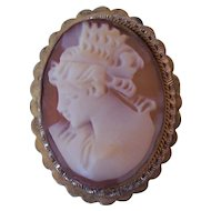 Vintage Shell Cameo 800 Silver Brooch Pendant