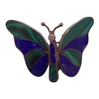 Trembler Butterfly Inlaid Lapis Malachite Brooch 970 Silver