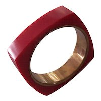 Lipstick Red Square Lucite & Brass Bangle Bracelet