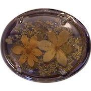 Vintage Dried Flowers in Lucite Brooch Silver tone