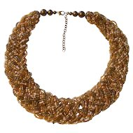 Beautiful Woven Seed Bead Torsade Necklace in Earthtones