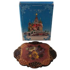 Vintage Signed Large Russian Lacquer Brooch with Box