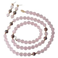 14K Gold Rose Quartz Cloisonne Beads & Earrings
