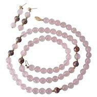 14K Gold Rose Quartz Cloisonne Beads & Earrings