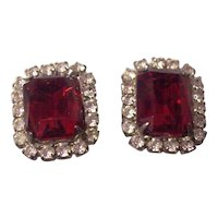 Elegant Faux Ruby & Diamond Costume Earrings