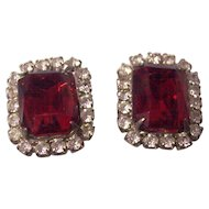 Elegant Faux Ruby & Diamond Costume Earrings