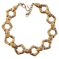 Bold & Chunky Runway Worthy Monet Gold tone Necklace