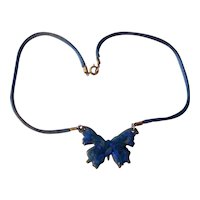 Wonderful Mid Century Abstract Enamel Butterfly Pendant Necklace