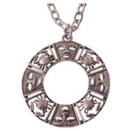 Bold Crab Zodiac & Mask Pendant Necklace Silver tone