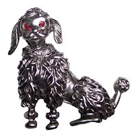 Vintage Silver tone French Poodle Brooch