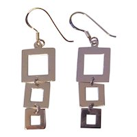 Sterling Silver Mod Style Dangling Squares Earrings