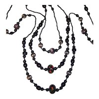 """Extra Long Italian Glass Black Beaded Necklace 72"""""""