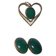 Gold Filled Pendant & Earrings Green Glass or Stone