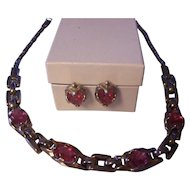 Vintage Retro Oval Pink Faceted Necklace & Earrings Set