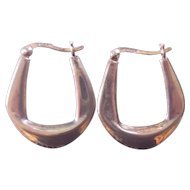 Sterling Silver Modernist Hoop Earrings