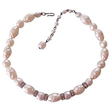 Faux Baroque Pearl and Rhinestones Rondelles Necklace