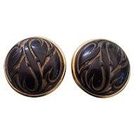 Ginnie Johansen GJD Designer Earrings Black Lucite Gold tone