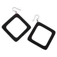 Fun Mod Black Lucite Earrings Open Rectangles