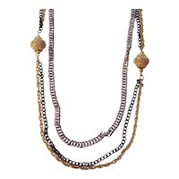 Celebrity N.Y. Multi Chain Tri Color Necklace