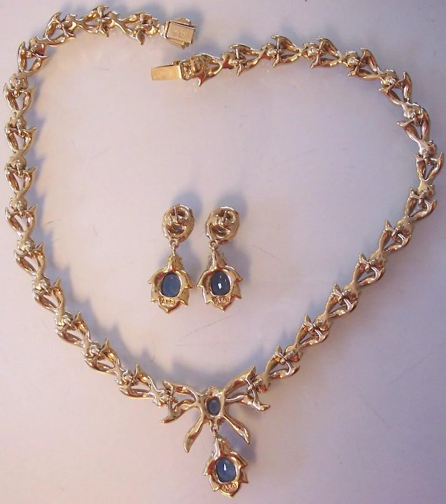 Gorgeous Attwood Sawyer Faux Sapphire Diamond Necklace Earrings Set
