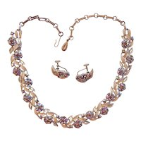 Lisner Aurora Borealis Enamel Topaz Rhinestone Necklace Earrings Set