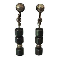 Vintage Hematite Sterling Silver Earrings