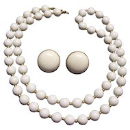 Monet White Bead Necklace & Earrings Set Gold tone