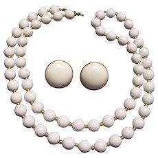 Monet White Bead Necklace & Earrings Set Gold tone