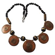 Copper and Brass Tribal Modernist Discs Necklace