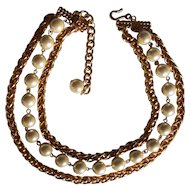 Chunky 3 Strand Faux Pearl and Gold tone Chain Carolee Necklace