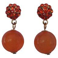 Orange & Tangerine Rhinestone & Moonglow Earrings