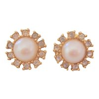 Vintage Richelieu Faux Pearl & Rhinestone Earrings