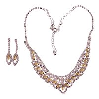 Beautiful Citrine & Clear Rhinestones Necklace Earrings Set