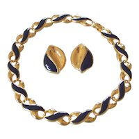 Gold tone & Blue Enamel Necklace & Earrings Set