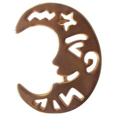 Crescent Man in the Moon Gold tone Brooch