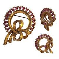 Vintage Pink Rhinestone Wreath Brooch Earrings Gold tone Set