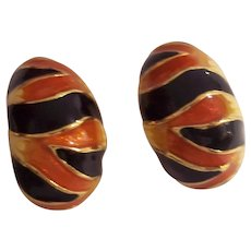 KJL Kenneth J Lane Tiger Striped Demi Hoop Earrings