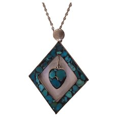 Turquoise Inlaid Silver Pendant on Chain Necklace