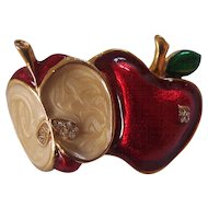 Double Apple Enamel & Rhinestone Brooch Gold Tone